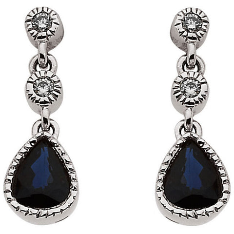 Earrings > Sapphire & Diamond > Blue
