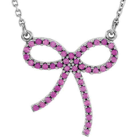 Necklace > Bow > Sapphire > Pink > Genuine