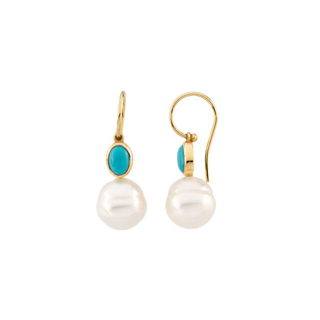 Earrings > Pearl > Cultured > Sea > South > Turquoise & 11mm > 7x5mm