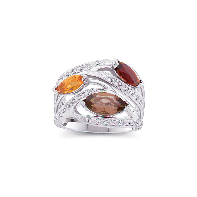 Ring > Citrine & Citrine > Madeira > Quartz, > Smoky > Diamond, > 1/6 CTW