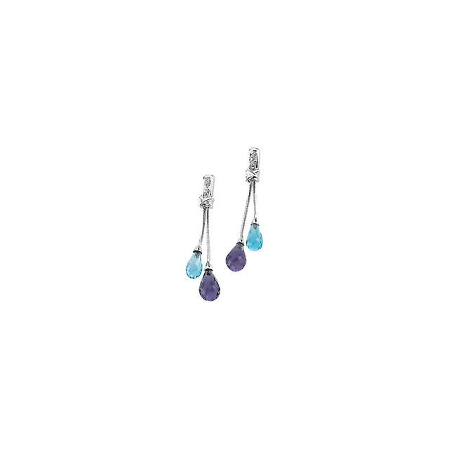 Accents > Diamond > with > Earrings > Briolette > Topaz & Amethyst > Blue > Swiss > Genuine