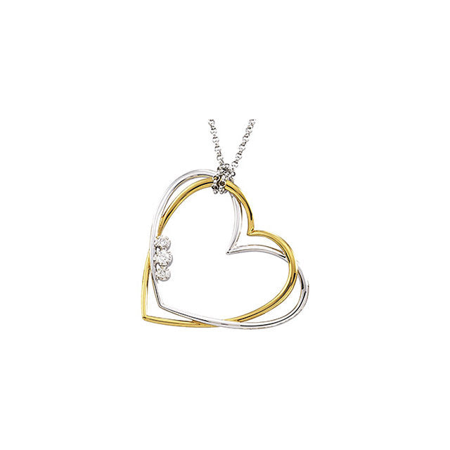 Necklace > Heart > Diamond > Two-Tone > .07 CTW