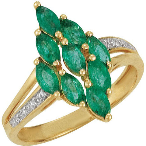 Ring > Diamond > .03 CTW > & > Emerald