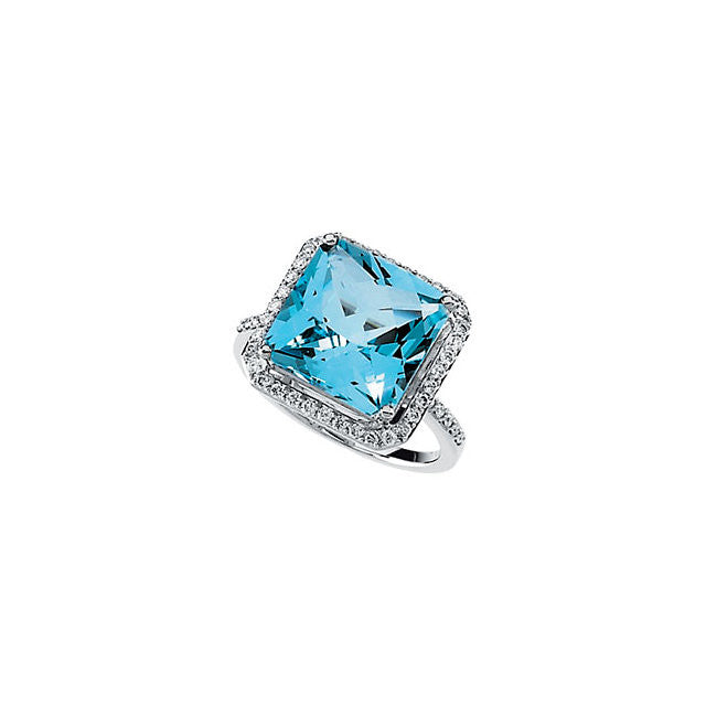 Ring > Topaz & Diamond > Blue > Swiss > Genuine