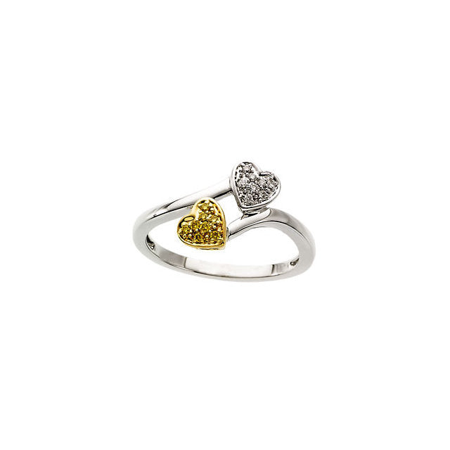 Ring > Heart > Diamonds > Yellow & White > Natural > .08 CTW