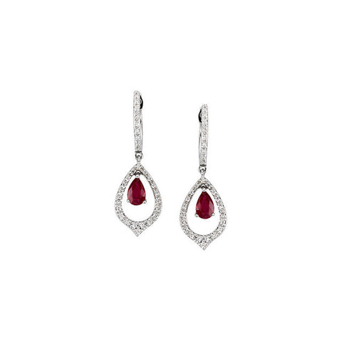 Earrings > Diamond & Ruby > 1/4 CTW