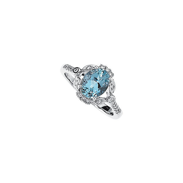 Ring > Aquamarine & Diamond > Genuine