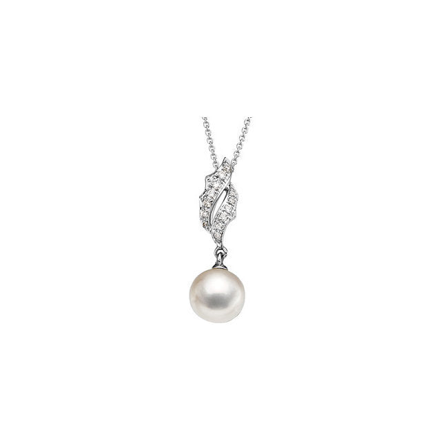 "Necklace > 18"" > Diamond > .08 CTW > & > Pearl > Cultured > Freshwater"