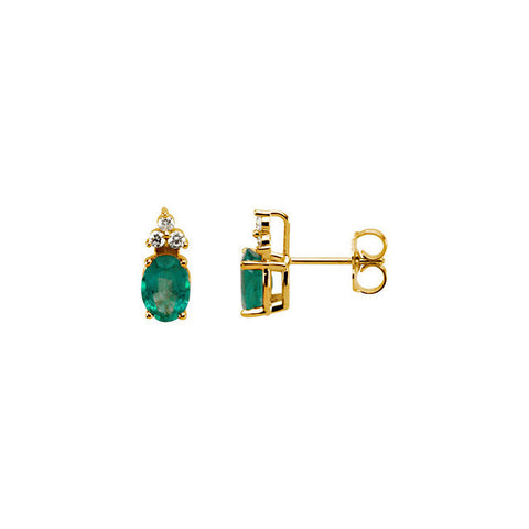 Earrings > Emerald & Diamond