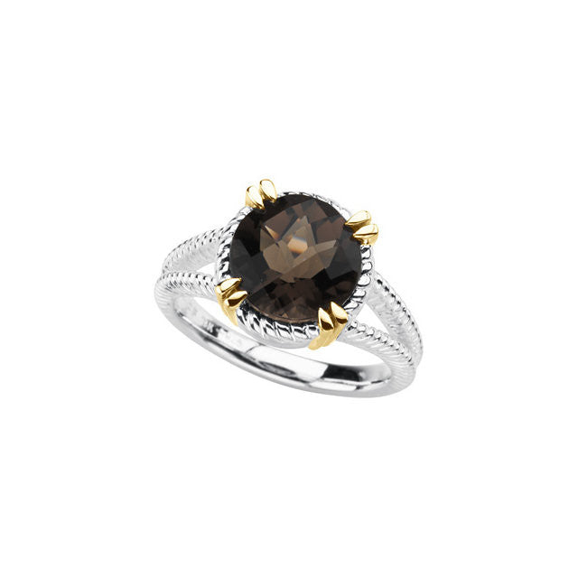 Ring > Quartz > Smoky > yellow > Silver & 14kt > Sterling