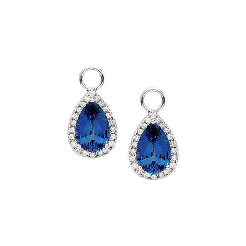 Dangles > Earring > Diamond > CTW > 1/Sapphire & 1 > Blue > Created > Chatham®
