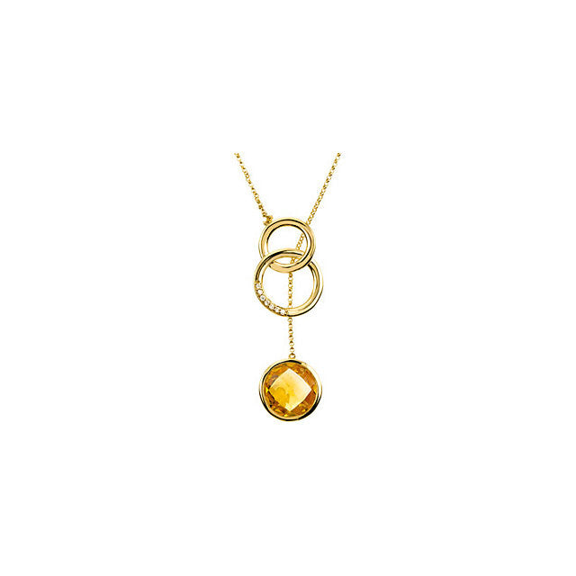 Necklace > Citrine & Diamond > Checkerboard > Genuine