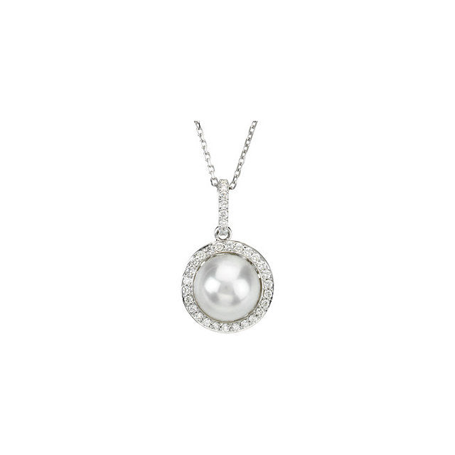 "Necklace > 18"" > Diamond > CTW > 1/Pearl & 1 > Cultured > Freshwater"