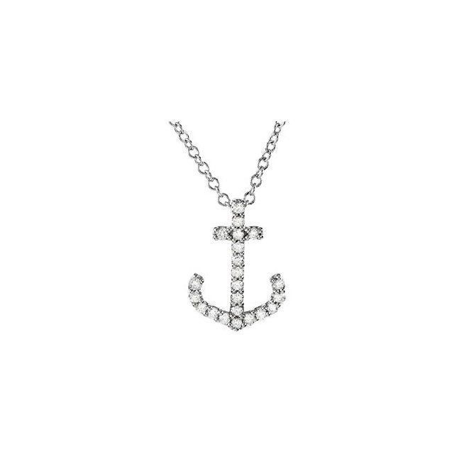 Necklace > Anchor > & > Diamond > 1/8 CTW