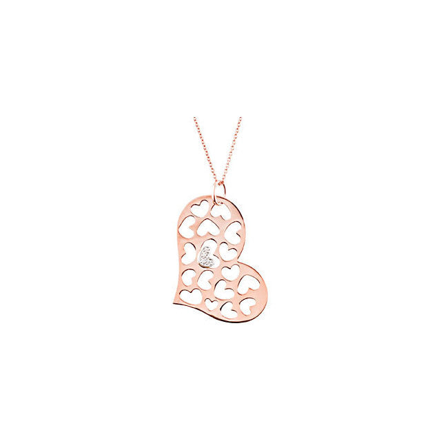 "Necklace > 18"" > Heart > Diamond > .08 CTW"