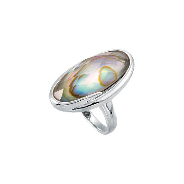 Ring > Top > Checkerboard > Quartz > White > with > Doublet > Abalone > Genuine