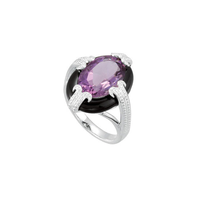 Ring > Amethyst & Onyx > Genuine