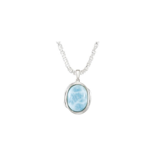 "Necklace > 18"" > Cabochon > Larimar > 16x12mm"