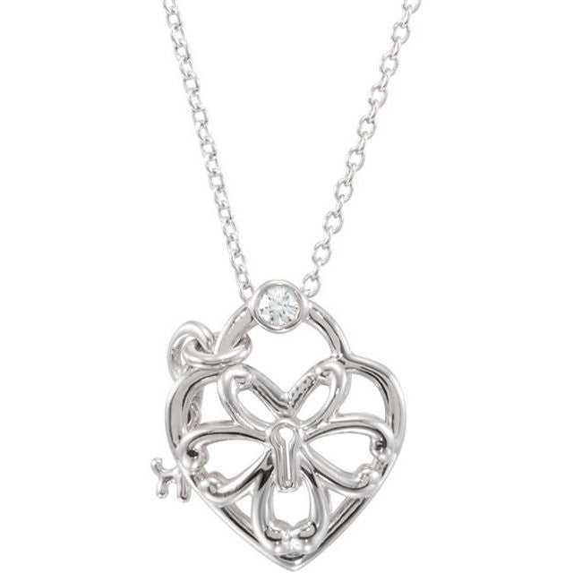 "Necklace > 18"" > Heart > Diamond > .05 CTW"