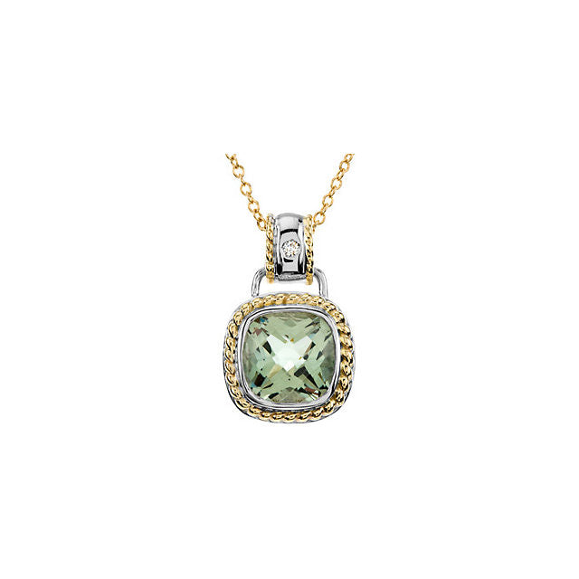 Necklace > Diamond > CTW > .White & Yellow > Green > 12x12mm > White & Yellow > 14kt