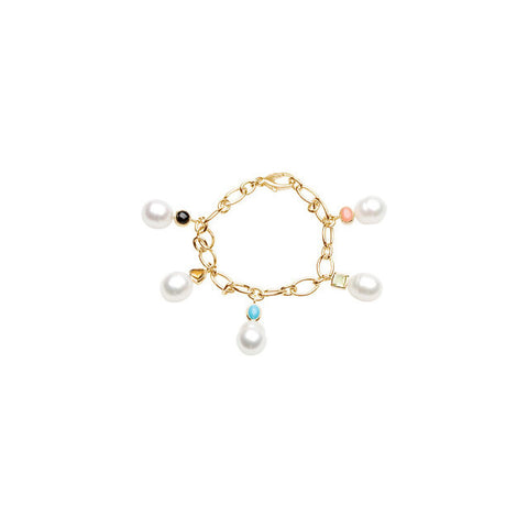 Bracelet > Charm > Gemstone > Multi- > & > Pearl > Circle > Cultured