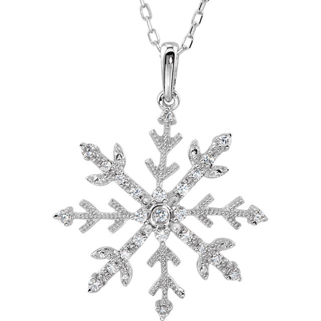 "Necklace > 18"" > Snowflake > Zirconia > Cubic"