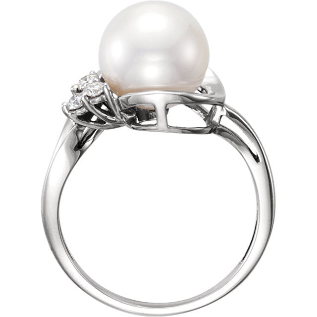 Ring > Diamond > .08 CTW > & > Pearl > Freshwater