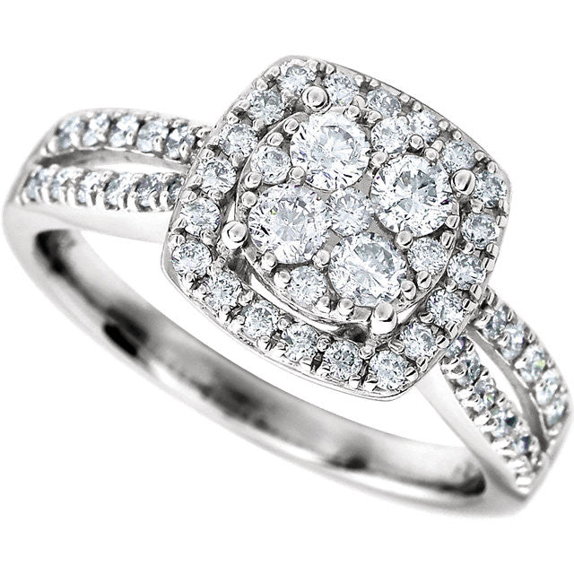 Ring > Engagement > Halo-Styled > Diamond > 3/4 CTW