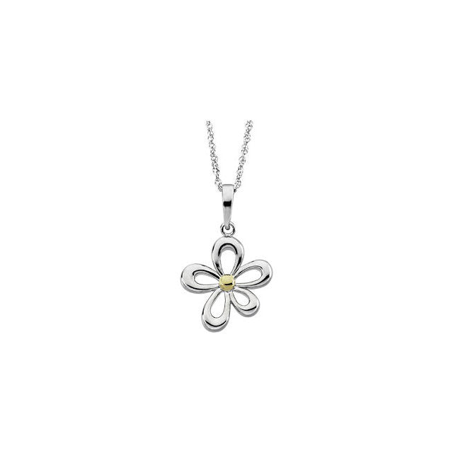 "Chain > Singapore > Sparkle > 18"" > a > on > Pendant > Flower > Tone > Two"