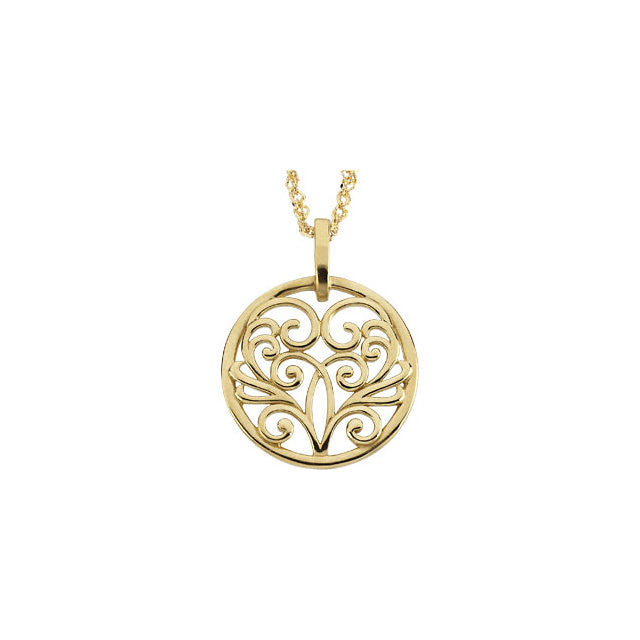 "Chain > Cable > 18"" > an > on > Pendant > Filigree > Circular"