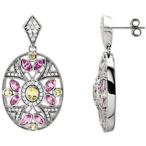 Earrings > Diamond > CTW > 1/Pink & Yellow > Pink & Yellow