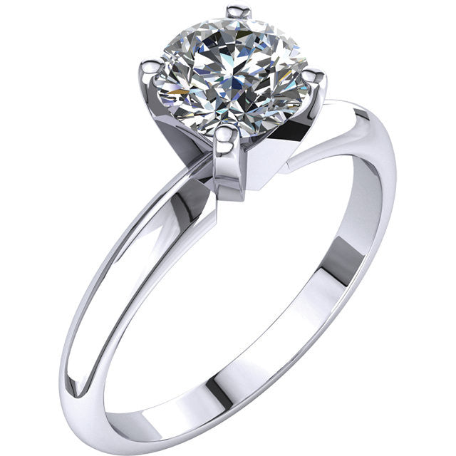 Round Brilliant Cut Solitaire Diamond Engagement Ring w/ 4 Prong Head