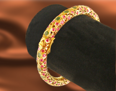 Stunning and Exotic Ruby and Emerald Bangle
