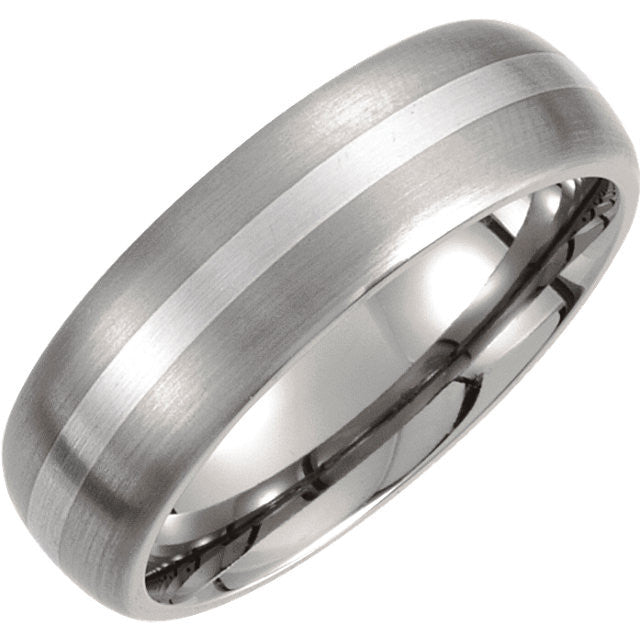 Band > Domed > Finish > Satin > 7mm > Inlay > Silver > Titanium & Sterling