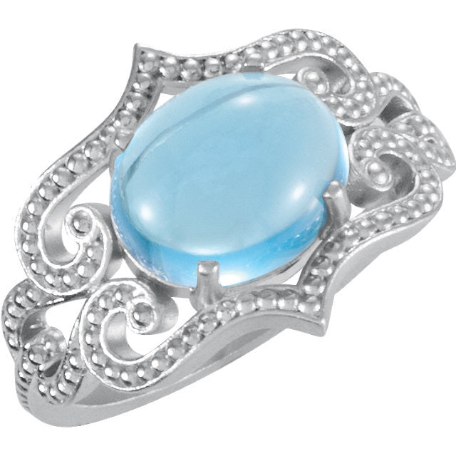 Ring > Topaz > Blue > Swiss > Design > Granulation > 10x8mm