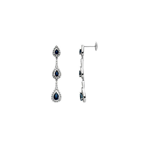 Earrings > Diamond > CTW > 3/Sapphire & 3 > Blue
