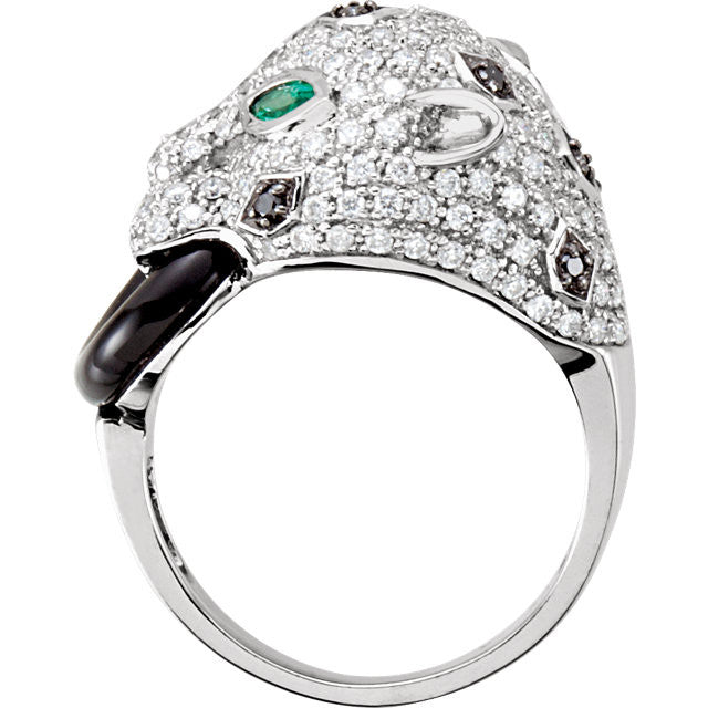 Ring > Onyx & Diamond > Emerald, > Genuine