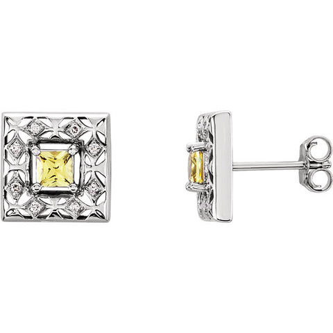 Earrings > Diamond > .08 CTW > & > Sapphire > Yellow