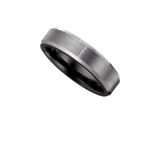 Overlay > Tungsten > with > Band > Edge > Beveled > 6.2mm > Couture™ > Ceramic