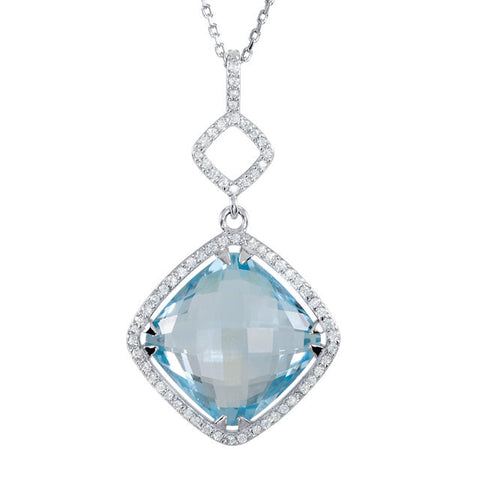 Diamond & Genuine > Dangle > Shape > Square > Antique > Halo-Styled > Topaz > Blue > Sky > Diamond & Genuine > 1/3 CTW