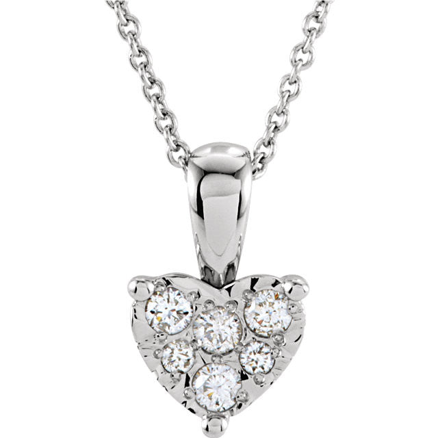 "Necklace > Heart > 18"" > Diamond > 1/8 CTW"