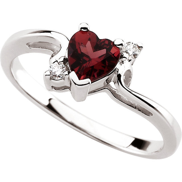 Ring > Garnet & Diamond > Rhodolite > Genuine > Heart-Shaped
