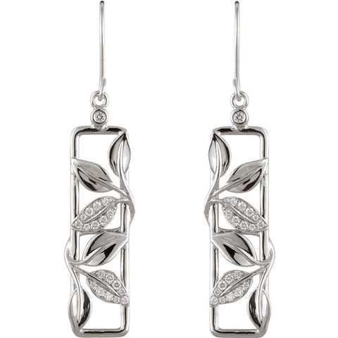 Design & Accent > Leaf > with > Earrings > Drop > Diamond > 1/4 CTW