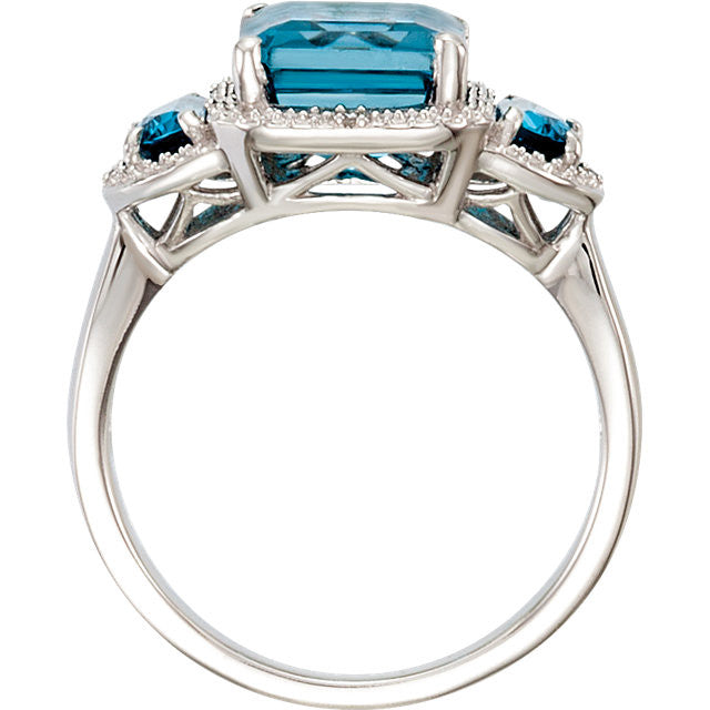 Ring > Diamond > .03 CTW > & > Topaz > Blue > London