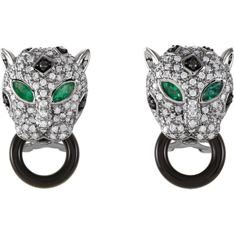 Earrings > Onyx & Diamond > Emerald,