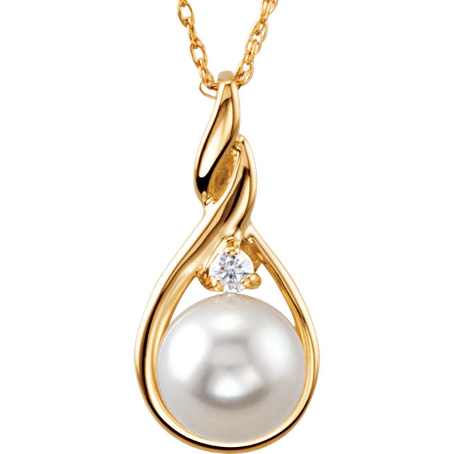 Necklace > Pearl & Diamond > Cultured > Akoya