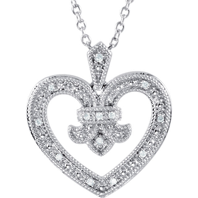 "Necklace > 18"" > Design > Heart > Diamond > .06 CTW"