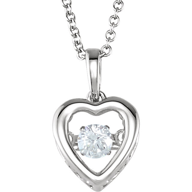 "Necklace > 18"" > Heart > Diamond > CT > 1/6"