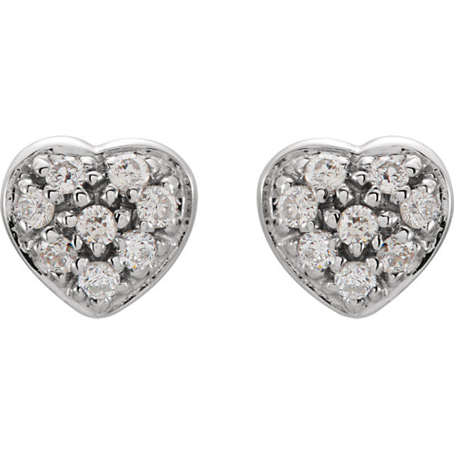 Earrings > Heart > Diamond > 1/10 CTW