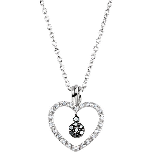 "Necklace > 18"" > Heart > Diamond > Black & White > 1/6 CTW"